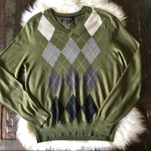 BANANA REPUBLIC Silk Cashmere Blend Argyle Sweater